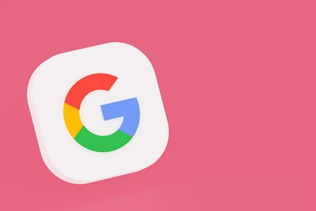 Google-toepassingslogo 3d-rendering op roze achtergrond