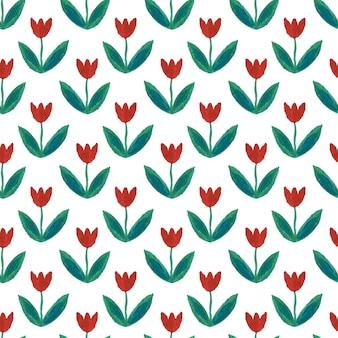 Gouache naadloos patroon met tulpen.