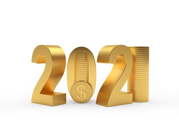 Goud 2021-nummer en stapels dollarmunten