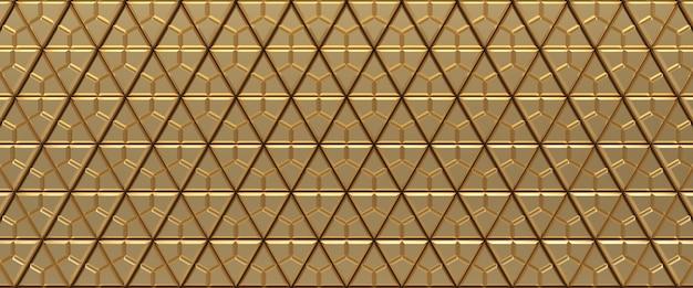 Goud betegelde driehoekige geometrische textuur achtergrond. geëxtrudeerd driehoekenoppervlak. 3d render.