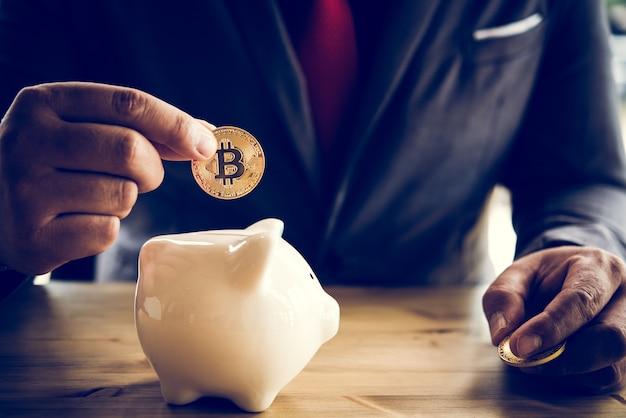 Goud bitcoin-geld is macht, ongeacht of het echt is of niet in de menselijke bedrijfsstijl.