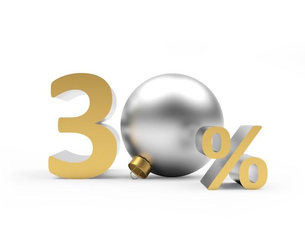 Goud dertig procent korting met zilveren kerstbal
