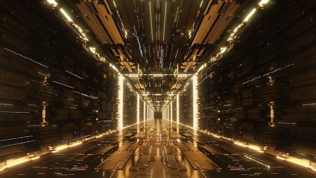 Goud digitale futuristische tunnel