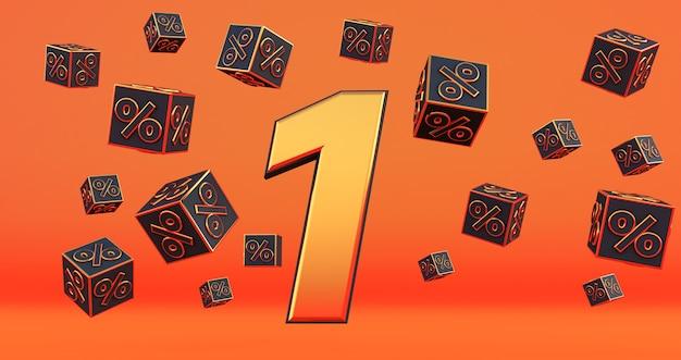 Goud één 1 procent nummer met zwarte kubussen percentages vliegen op een oranje achtergrond. 3d render