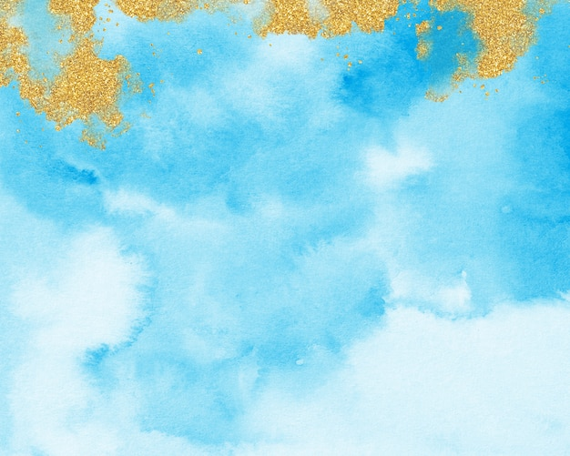 Goud en blauw aquarel achtergrond, pastel blauwe textuur