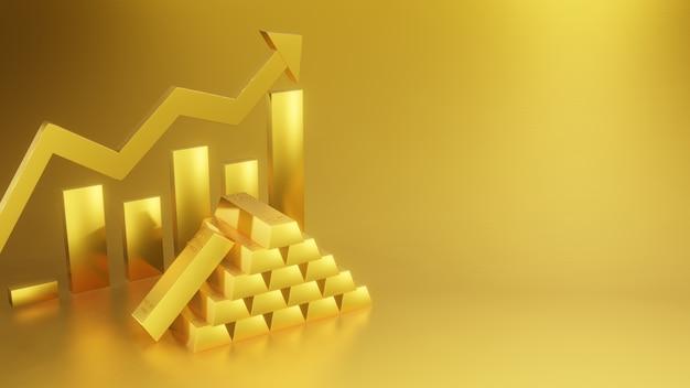 Goud en gouden grafiek zaken en investeringen met ontwerp pijl omhoog