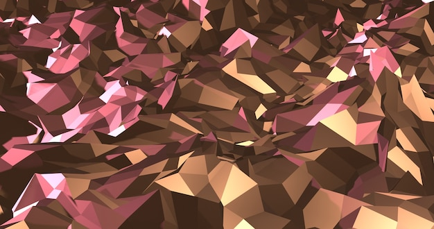 Goud en roze abstract veelhoekig patroon. 3d render