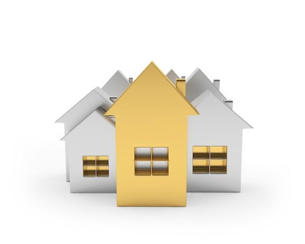 Goud en zilver huizen iconen van verschillende groottes