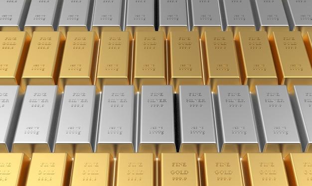 Goud- en zilverstaven gestapeld in strepen 3d
