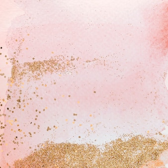 Goud glitter op roze aquarel