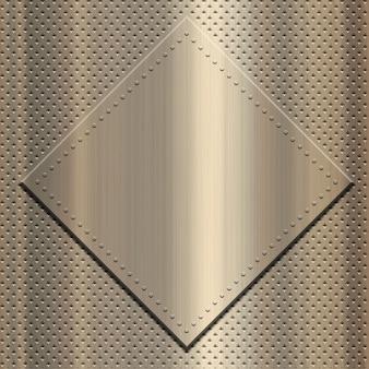 Goud metallic met metalen plaat