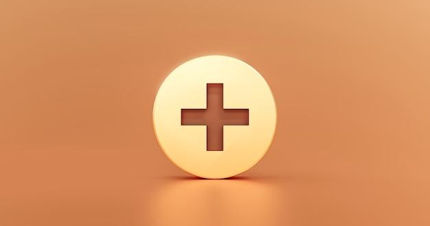 Goud plus pictogram teken en metalen kruis illustratie ontwerp toevoegen vorm logo knop of medische glanzende ehbo symbool concept op gouden webachtergrond met toevoeging modern grafisch element. 3d-weergave.