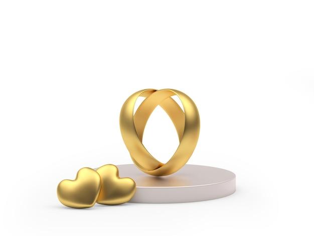 Goud verbonden trouwringen en twee harten op een standaard