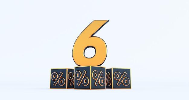 Goud zes 6 procent nummer met zwarte kubussen percentages geïsoleerd op een witte achtergrond. 3d render