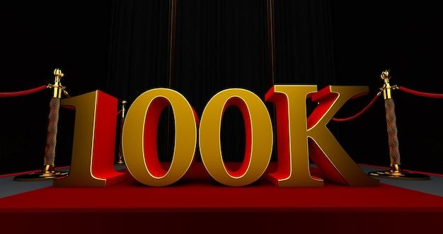 Gouden 100k of 100.000 dank u, webgebruiker dank u vieren van abonnees of volgers en likes, 3d render