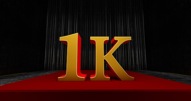 Gouden 1k of 1000 dank u, webgebruiker dank u vieren van abonnees of volgers en likes, 3d render