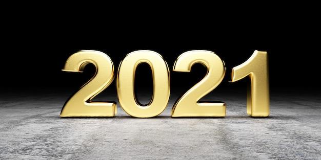 Gouden 2021 nieuwjaarssymbool op concrete achtergrond