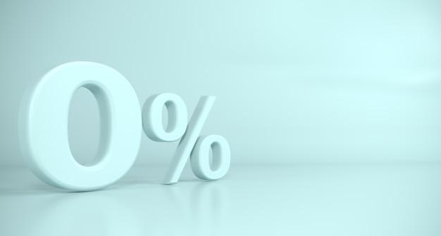 Gouden 3d teken nul procent blauwe achtergrond