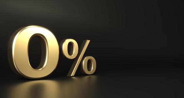 Gouden 3d teken nul procent donkere achtergrond