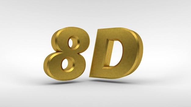 Gouden 8d-logo geïsoleerd op wit oppervlak met reflectie-effect