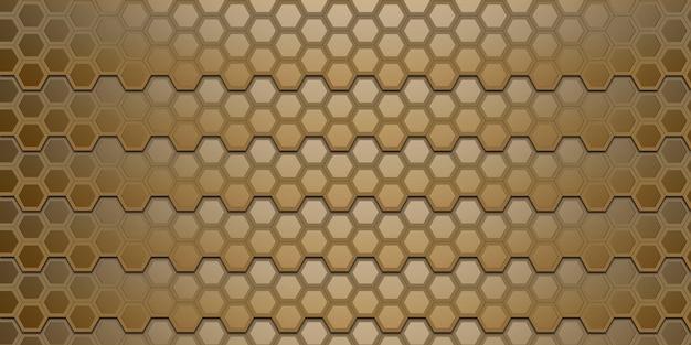 Gouden abstracte zeshoek gouden honingraatmuur elegante bokeh 3d illustratie