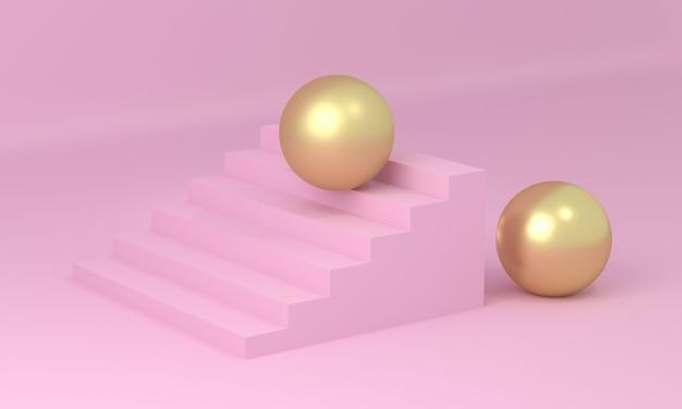Gouden bal op roze