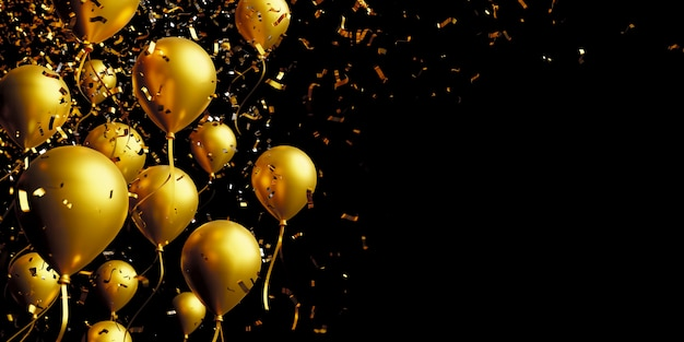 Gouden ballon en folie confetti op zwarte achtergrond met kopie ruimte 3d render