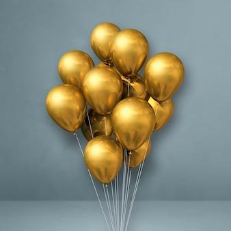 Gouden ballonnen bos op een grijze muur. 3d illustratie render