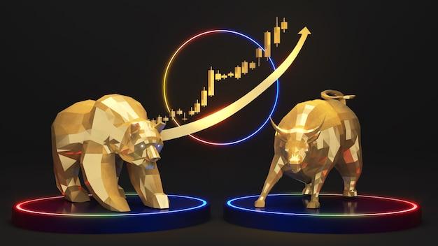 Gouden beer in combinatie met gouden stier op het zwarte voetstuk phinee onlineinvesteringen en zaken
