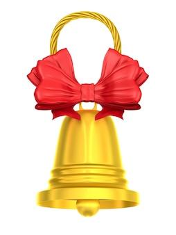 Gouden bel op wit. geïsoleerde 3d-afbeelding