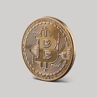 Gouden bitcoin cryptocurrency. de voorkant van de medaille