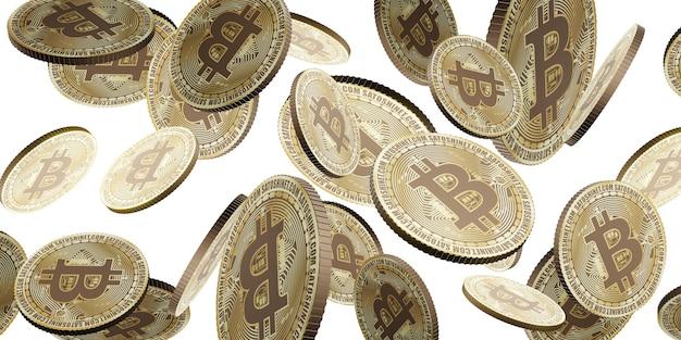 Gouden bitcoin cryptocurrency munt zwevend in de lucht 3d illustratie achtergrond