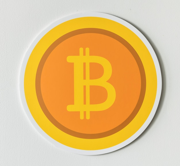 Gouden bitcoin cryptocurrency pictogram geïsoleerd