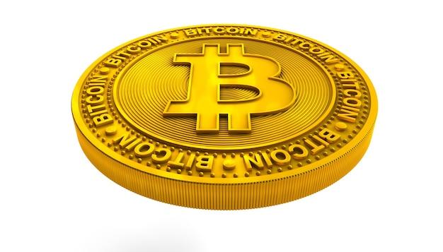 Gouden bitcoin geïsoleerd op wit