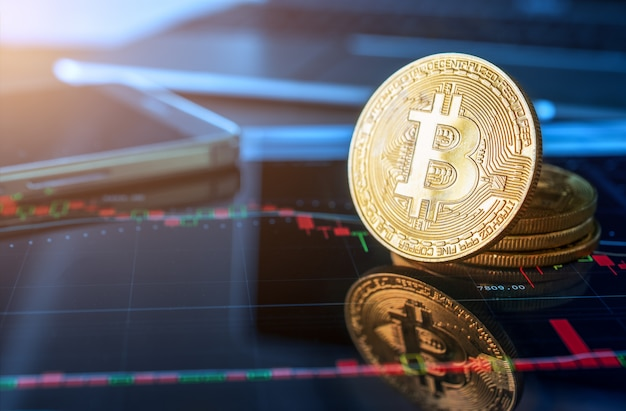 Gouden bitcoin munt crypto valuta.