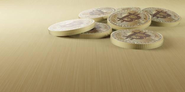 Gouden bitcoin-munten gerangschikt in een lijn en opgestapeld op de houten vloer 3d-afbeelding