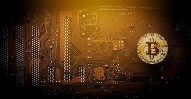 Gouden bitcoin op computer moederbord met handelsgrafiek