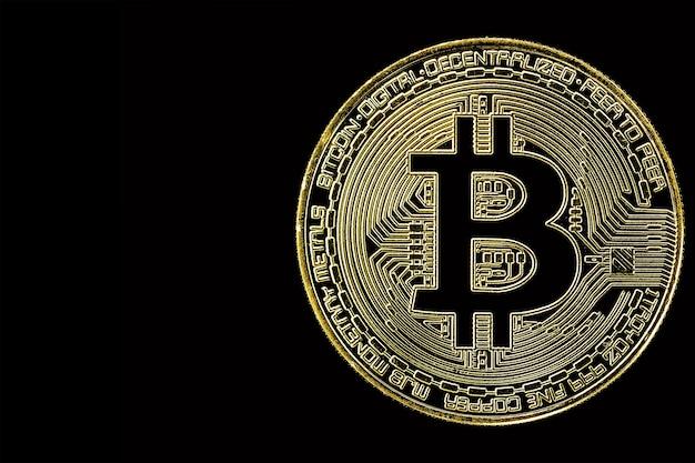Gouden bitcoin op zwarte ondergrond