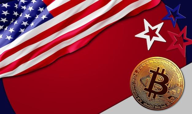 Gouden bitcoinmuntstuk op de vlagachtergrond van de v.s