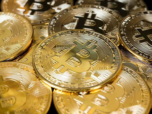 Gouden bitcoins achtergrond