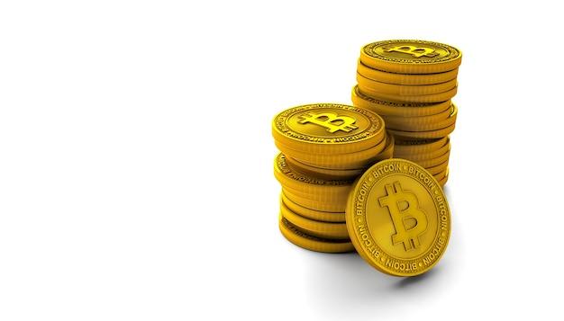 Gouden bitcoins geïsoleerd op wit
