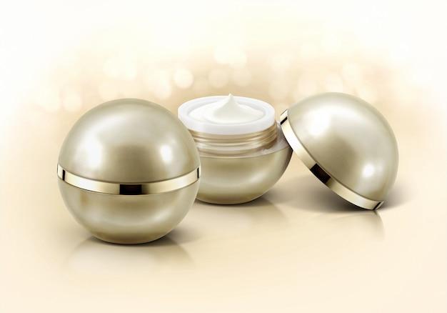 Gouden bol cosmetische potten