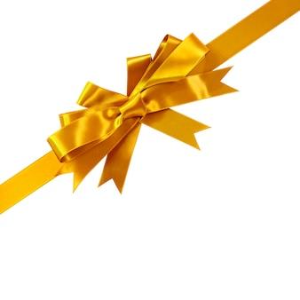 Gouden boog cadeau lint hoek diagonaal geïsoleerd