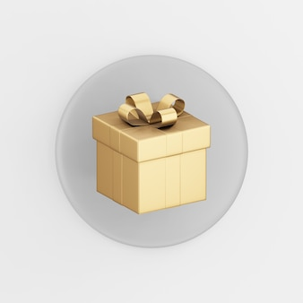 Gouden cadeau pictogram met strik. 3d-rendering grijze ronde sleutelknop, interface ui ux-element.