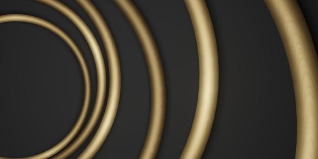 Gouden cirkel frame achtergrond zwarte achtergrond eenvoudige luxe voor plakken tekst 3d illustratie
