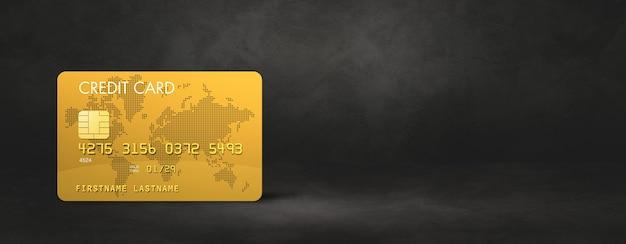 Gouden creditcard sjabloon op een zwarte betonnen banner als achtergrond. 3d illustratie