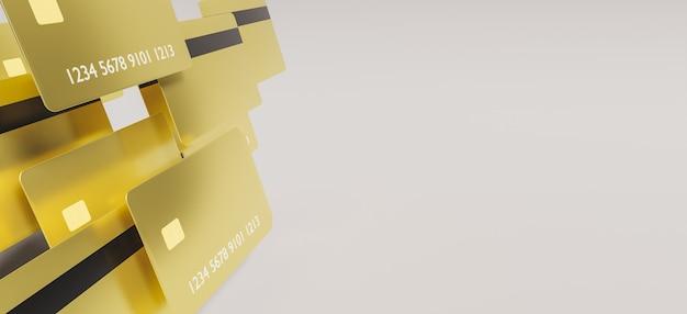 Gouden creditcards die aan één kant op witte achtergrond met ruimte voor tekst vooruitgaan. 3d-weergave