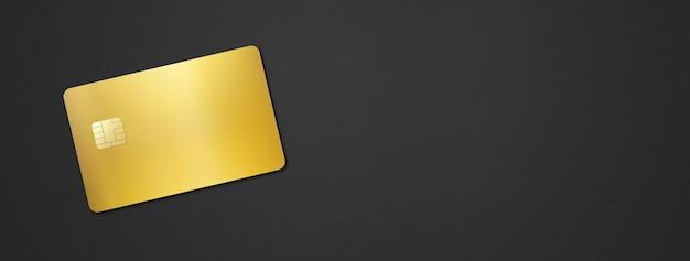 Gouden creditcardsjabloon op zwart