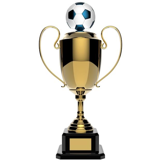 Gouden de toekenningstrofee van het voetbal die op wit met het knippen van weg wordt geïsoleerd