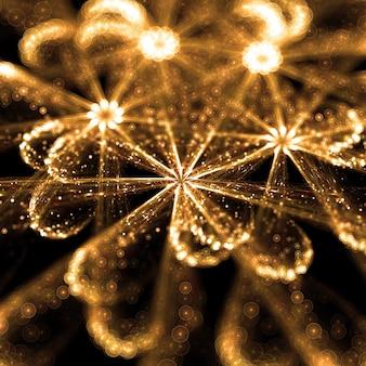 Gouden deeltjes bloem met bokeh-effect 3d illustratie